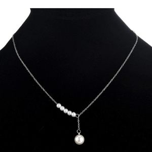 Silver and faux pearl dangle necklace new